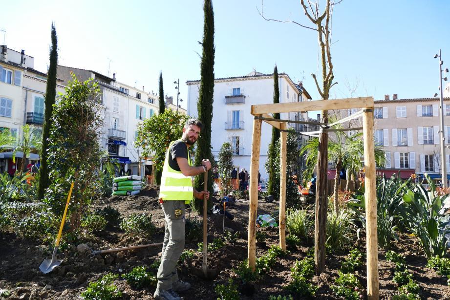 La place des Martyrs-de-la-Résistance prend forme avec la création d'un jardin d'exposition.