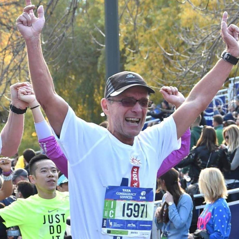 Daniel Moeglin lors du marathon de New York. DR