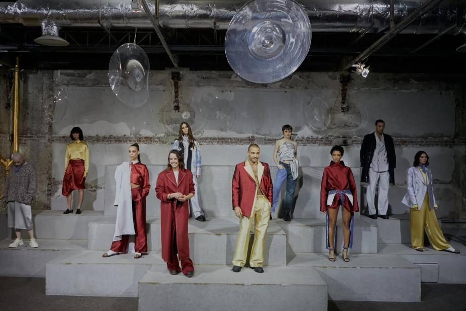 Pauline Ducruet, au milieu de ses mannequins, mercredi au Palais de Tokyo, à Paris.