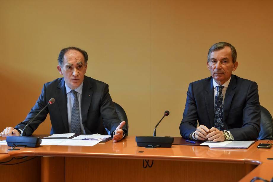 Jean Castellini et Didier Gamerdinger, hier en fin de journée, à l'occasion du troisième point presse de la semaine sur le sujet du coronavirus.