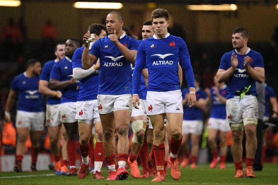 Le XV de France après son succès contre le Pays de Galles, dans le tournoi des Six nations, le 22 février 2020 à Cardiff.