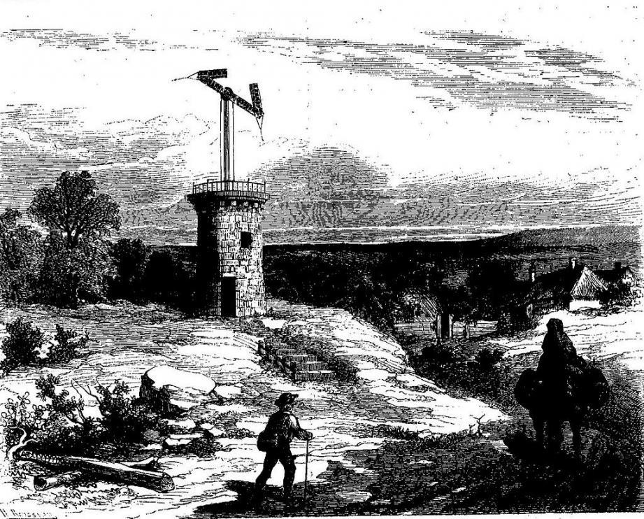 Le télégraphe Chappe qui dresse ses tours  et ses bras articulés sur tout le territoire français.