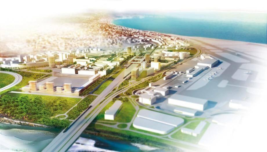 70.000m² des 230.000m² du MIN (transféré à La Baronne en 2022) seront consacrés à un parc des expositions et un palais des congrès dans l'espace situé à gauche et en lisière d'espace vert sur ce croquis.