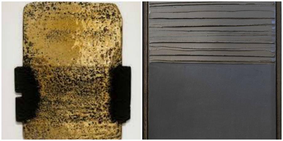 """""""Bronze III"""" et """"Peinture"""" de Pierre Soulages."""