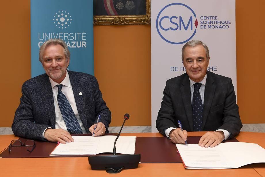 De gauche à droite. Jeanick Brisswalter (UCA) et Patrick Rampal (CSM) ont finalisé la collaboration ce lundi 3 février.