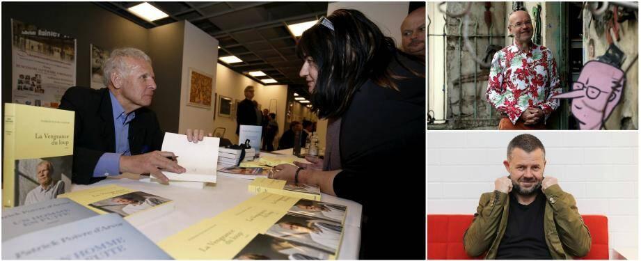 De haut en bas et de gauche à droite: en 2019, le journaliste et écrivain Patrick Poivre d'Arvor avait été un des invités d'honneur de la huitième édition. Cette année, l'évènement accueille, notamment, l'artiste Patrick Moya et le journaliste Eric Naulleau.