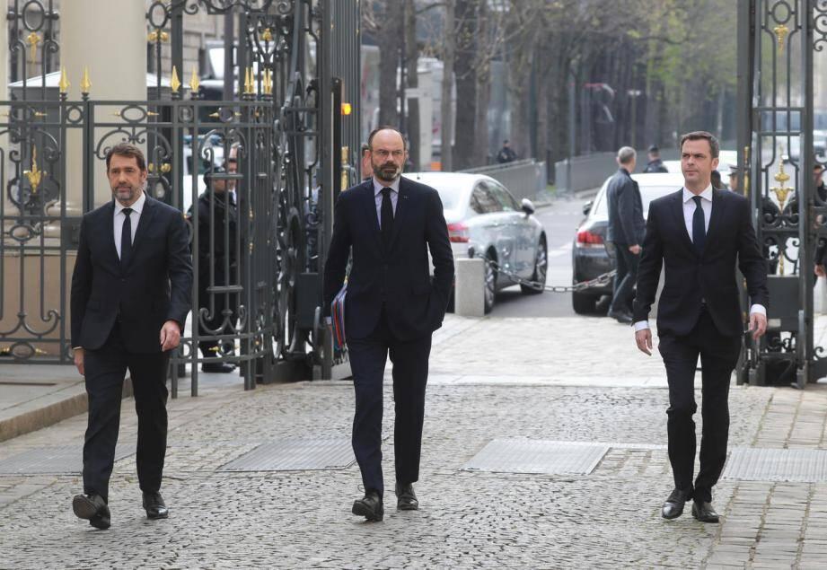 Christophe Castaner, Edouard Philippe et Olivier Véran.
