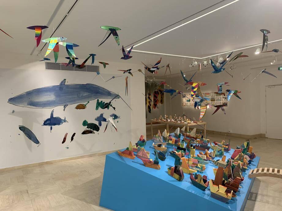 Les œuvres des jeunes, inspirées des travaux de Jean-Michel Folon, sont à admirer au Pavillon Bosio jusqu'à vendredi.