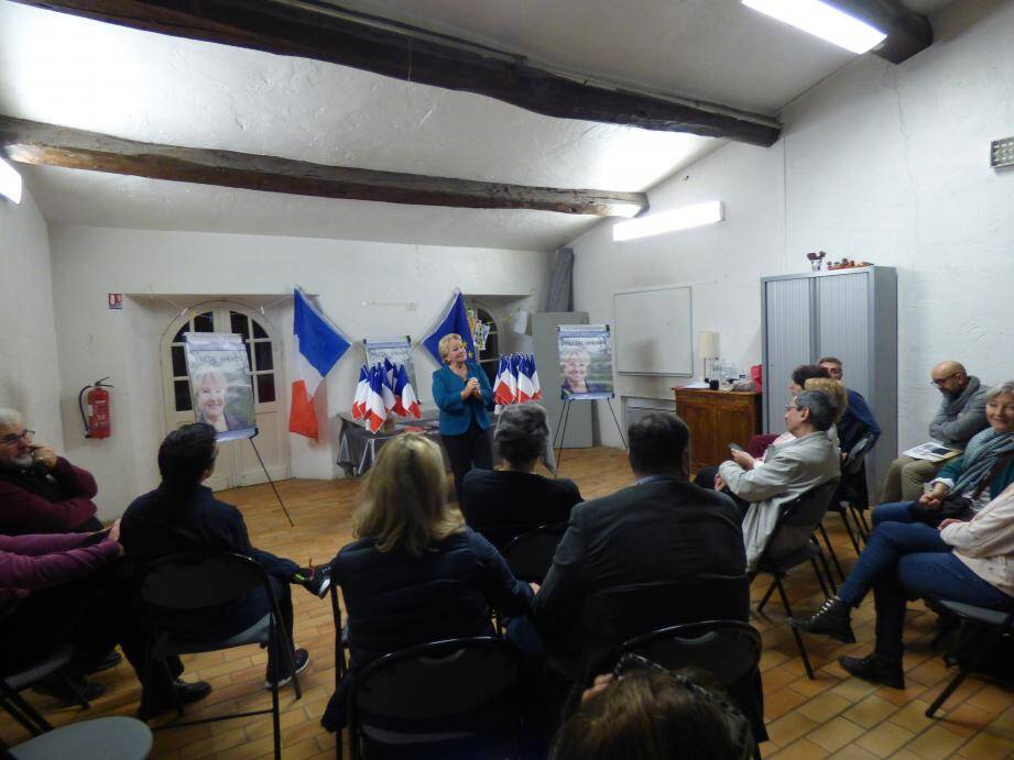 Chantal Maimon lors de sa réunion publique.