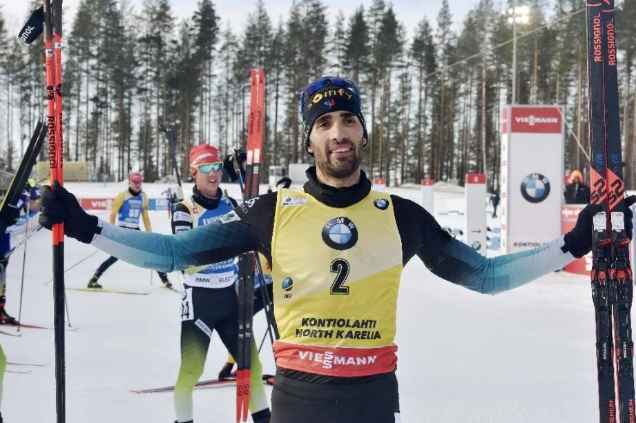 Le Français Martin Fourcade après sa victoire dans la poursuite de Kontiolahti, comptant pour la Coupe du monde de biathlon le 14 mars 2020