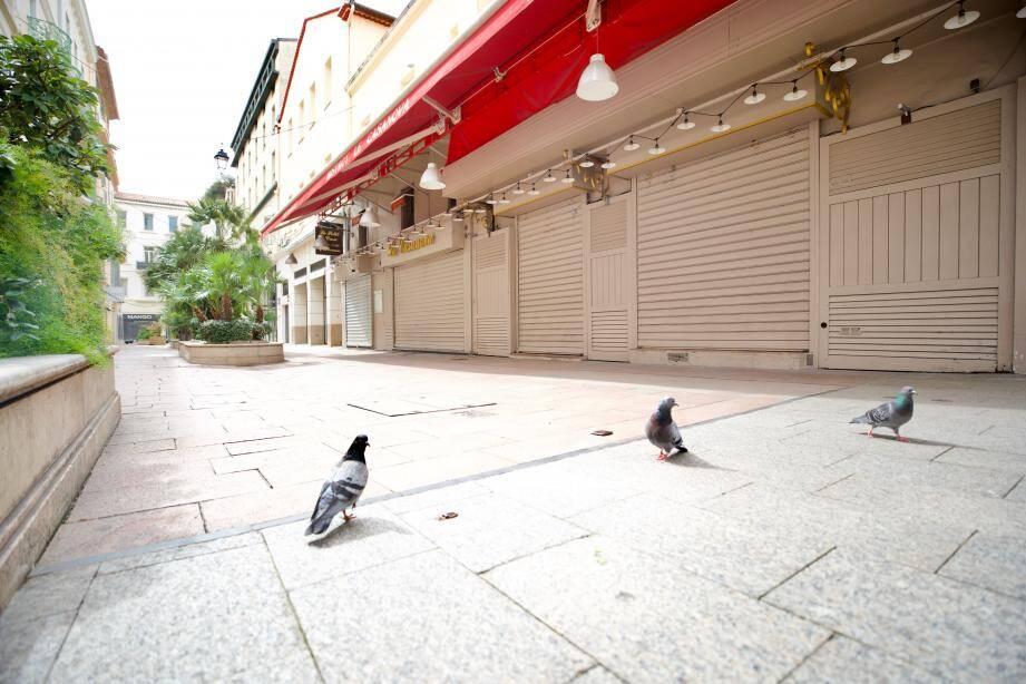 Sur la rue Hoche aux devantures closes, les pigeons prennent peu à peu possession du bitume, alors que les humains commencent à se disperser comme une volée de moineaux.