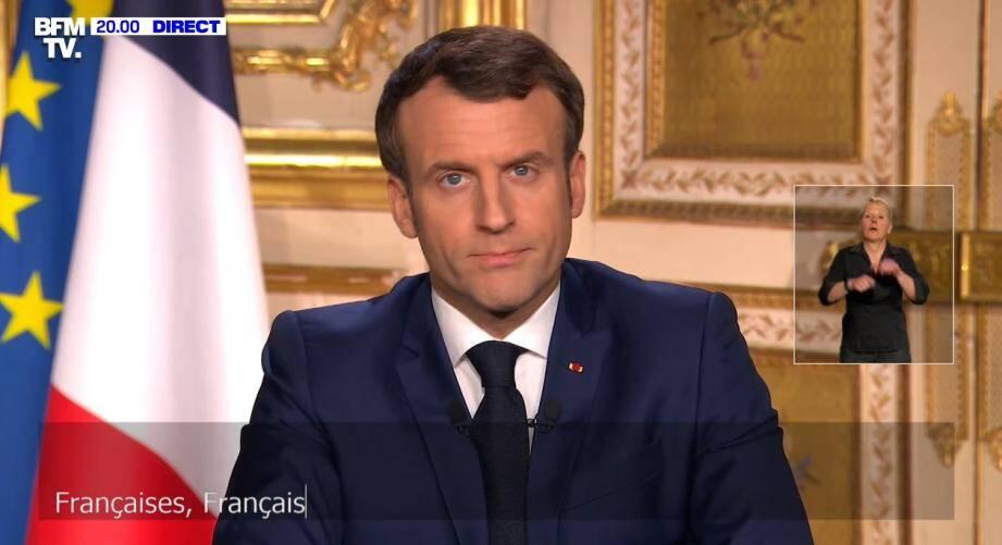 Emmanuel Macron, lors de son discours.