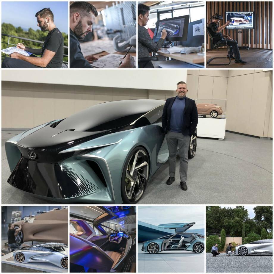 Ian Cartabiano, le directeur d'ED2, pose devant le concept-car Lexus LF-30 Electrified... en argile! Designé à Sophia et exposé fin octobre au salon auto de Tokyo. Une voiture de 4 places dotée de portes s'ouvrant vers le ciel, d'une conduite autonome, d'une motorisation 100% électrique de 0 à 100 km/h en 3,8 secondes.