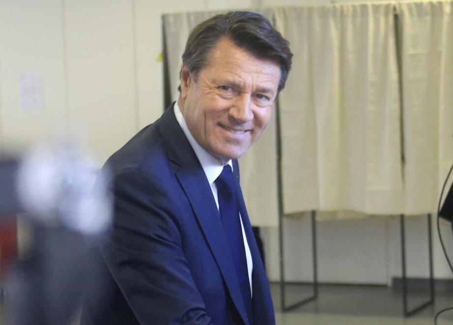 Christian Estrosi lors du premier tour des élections municipales.