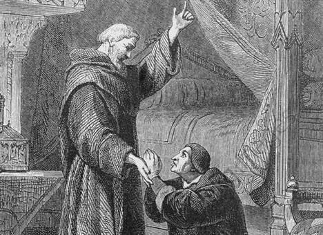 Le roi de France agenouillé devant Saint-François de Paule.