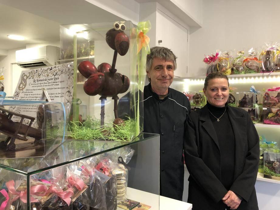 Valérie et Philippe Prodotti, artisans chocolatiers à Hyères.