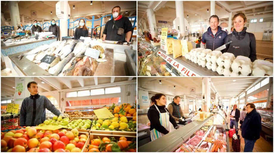 En haut à gauche, le carré de la pêche locale. A droite, Coralie et Emmanuel. En bas à gauche Dylnan, dans l'allée centrale des producteurs locaux. A droite, Paloma et Jean-Michel.