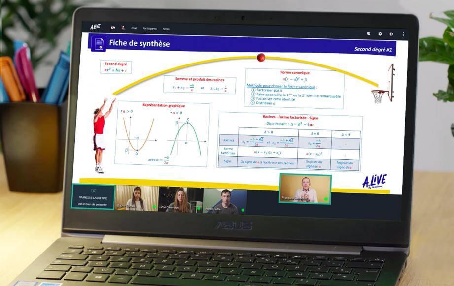 Sur sa plateforme A-Live, Acadomia propose des cours, des exercices et des interactions avec la communauté.