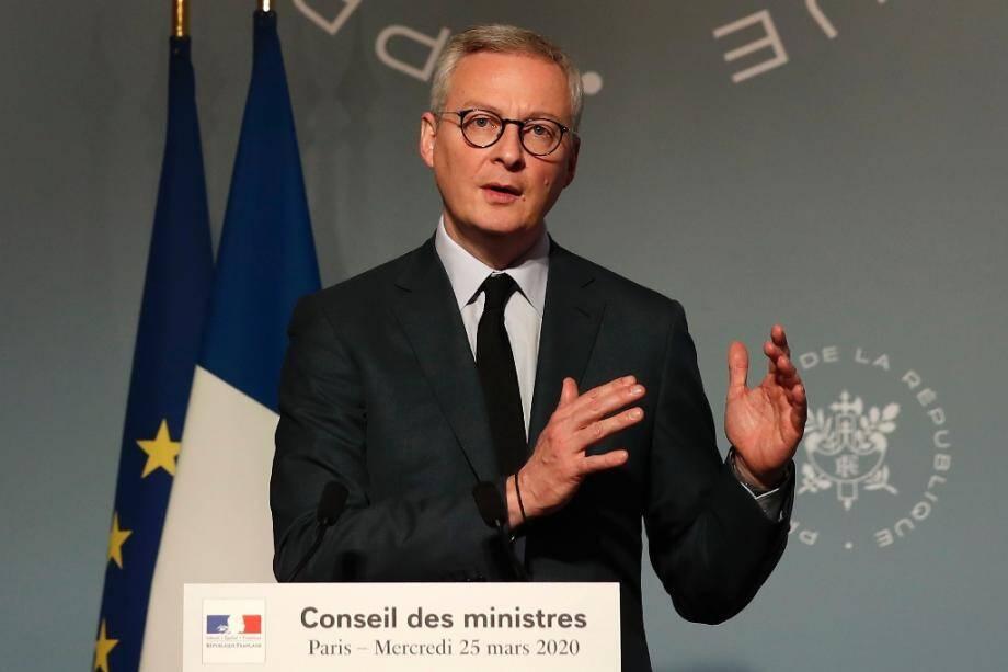 Le ministre de l'Economie Bruno Le Maire lors d'une conférence de presse à l'Elysée, le 25 mars 2020 à Paris