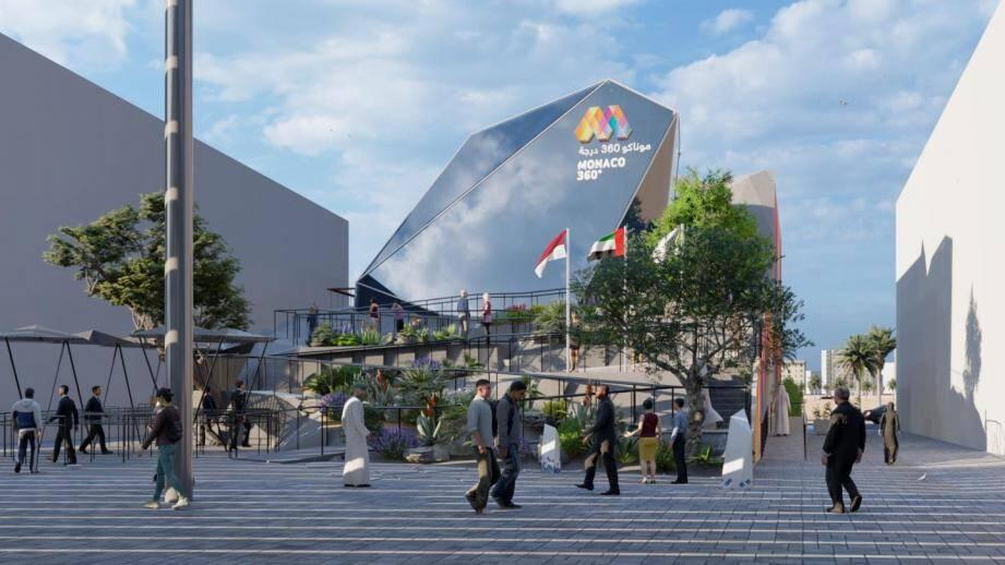 Actuellement en construction, dans l'attente d'une éventuelle décision de report, le Pavillon de Monaco est prévu pour accueillir 7.200 visiteurs par jour.