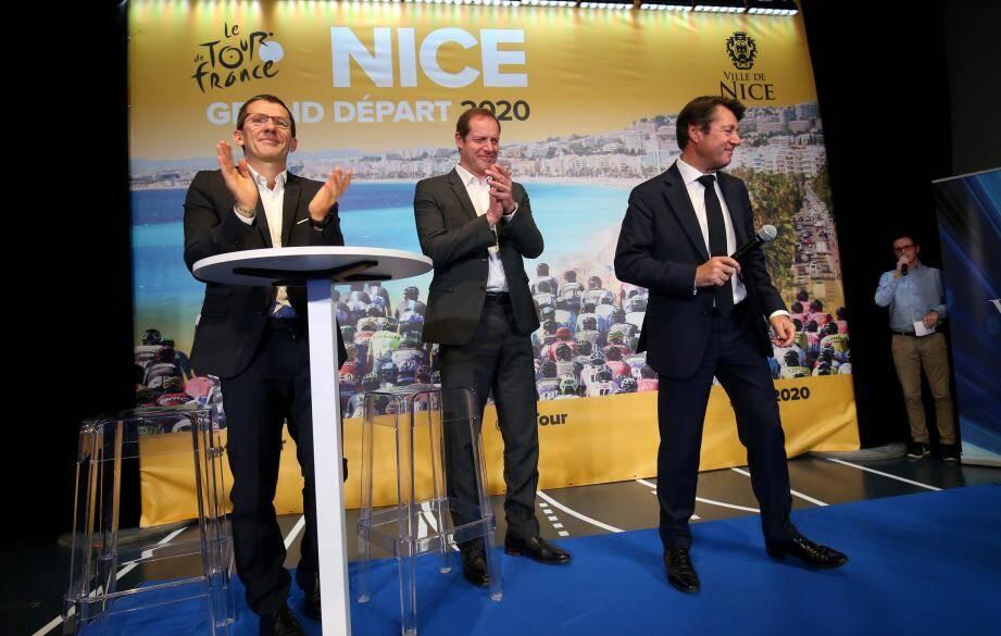 Christian Estrosi avec Yann Le Moenner, Directeur Général d'ASO, et Christian Prudhomme, Directeur du Tour : une équipe qui roule.