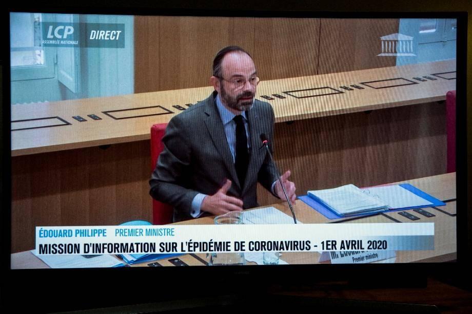 Edouard Philippe devant la mission d'information parlementaire en visioconférence à l'Assezmblée à paris le 1er avril 2020
