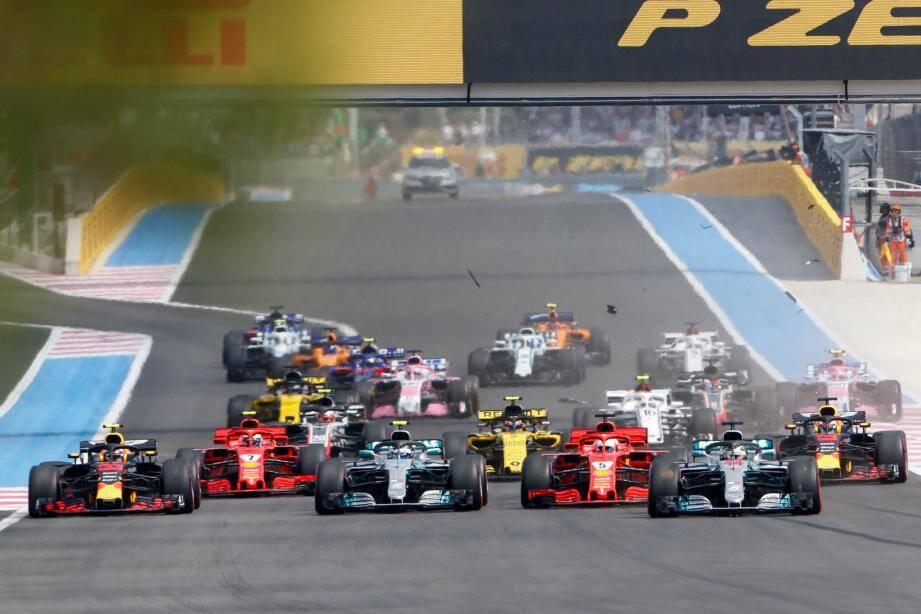 Illustration.    Circuit Paul Ricard Le Castellet le 24 Jun 2018. Photographie Dominique Leriche Grand Prix de France de F1 Dpart avec la touchette