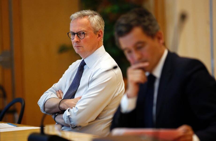 Bruno Le Maire et Gérald Darmanin au ministère de l'Economie et des Finances à Paris, le 17 avril 2020