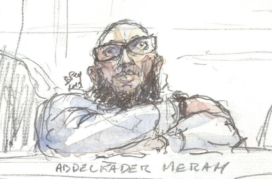 Croquis d'audience d'Abdelkader Merah datant du 25 mars 2019, devant la cour d'assises spéciale de Paris