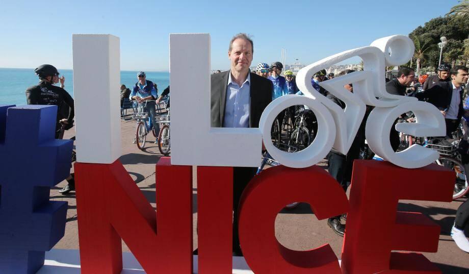 Christian Prudhomme, sur la Promenade des Anglais, en février dernier.
