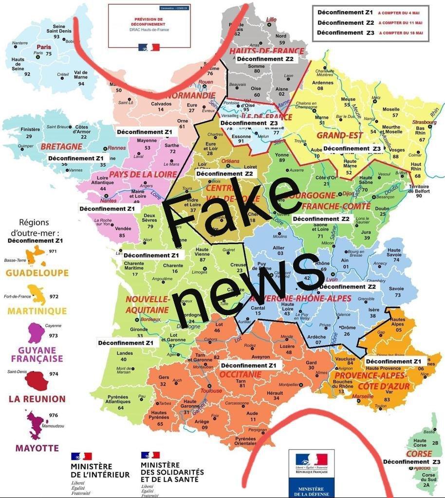 Cette carte de France a été publiée et largement partagée sur les réseaux sociaux. Il s'agit d'une fausse.