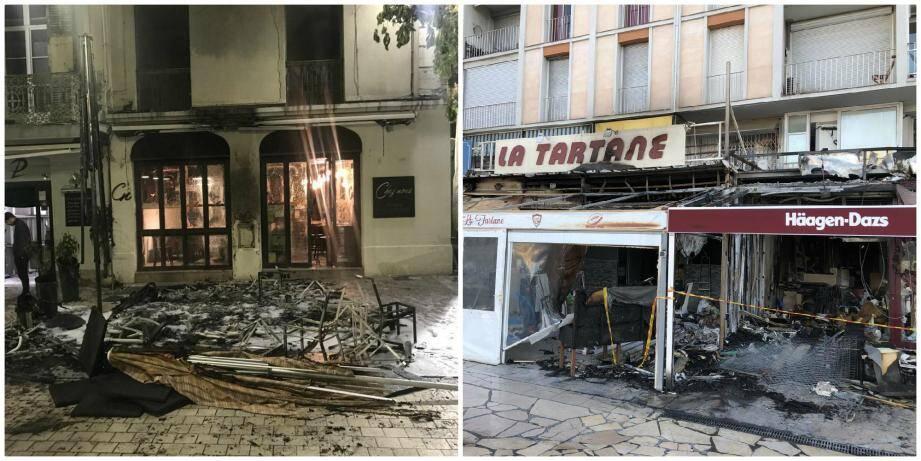 Plusieurs établissements ont été endommagés par les flammes ce samedi.
