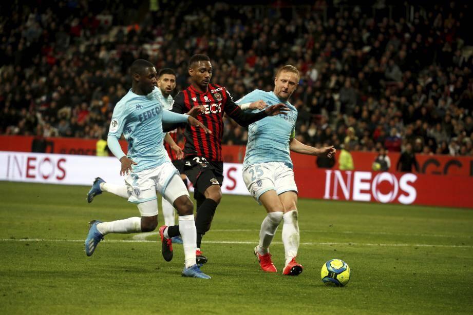 Lors du match Nice-Monaco le 7 mars à l'Allianz Riviera.