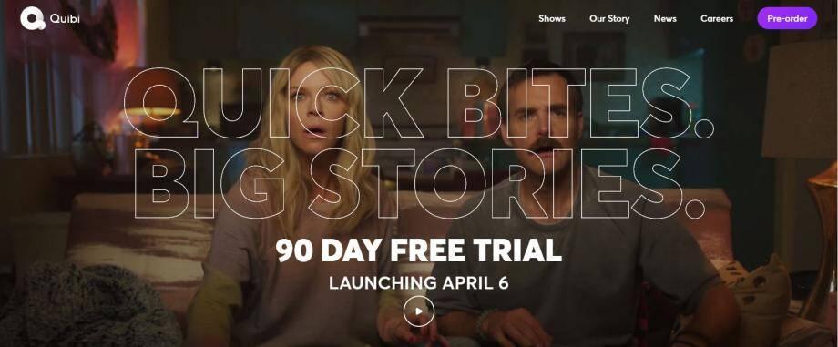 L'écran d'accueil du site de Quibi, qui sera lancé le 6 avril.