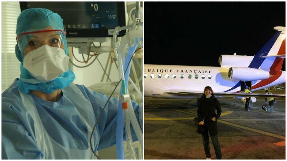 """Sandrine Cauchy-Lusseau, harnachée, au cœur du service réa du Centre hospitalier sud francilien. Un Falcon 900, siglé «République française"""", l'a embarquée avec une dizaine de soignants du Var et des Alpes-Maritimes."""