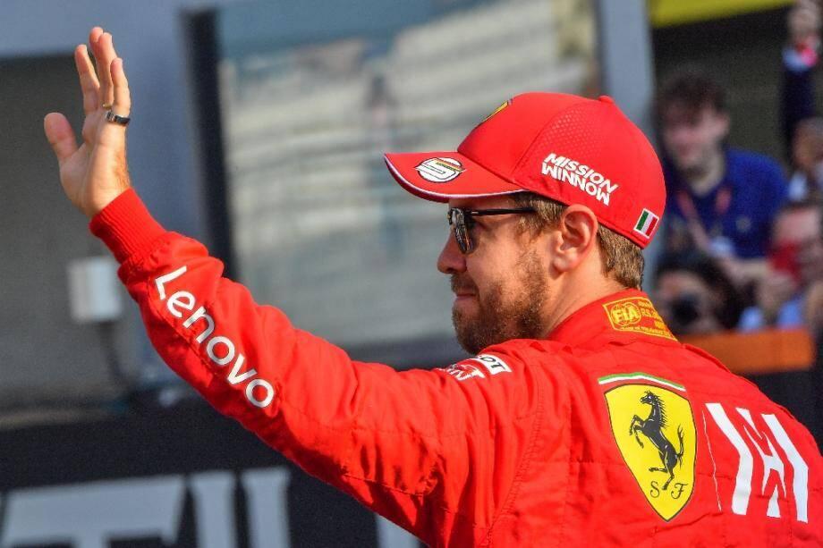 Sebastian Vettel, le pilote allemande de l'écurie italienne Ferrari, avant le Grand Prix d'Abou Dabi en clôture de la saison 2019, le 1er décembre 2019 à Abou Dabi