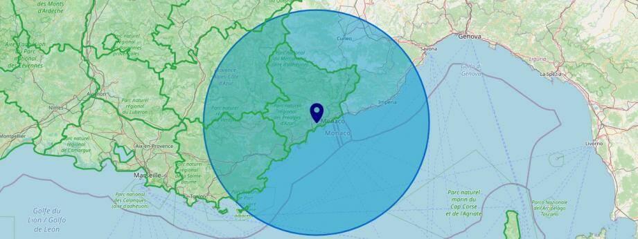 La zone de cent kilomètres à vol d'oiseau établie depuis le centre-ville de Nice sur le site bilancoronavirus.fr.