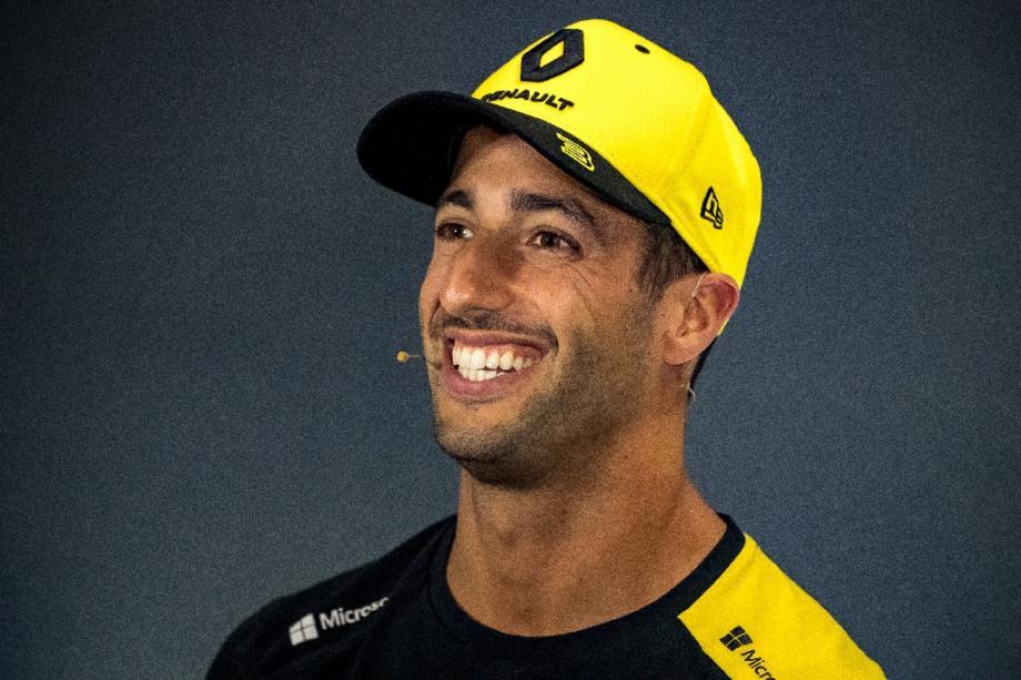 Le pilote australien Daniel Ricciardo le 11 juillet 2019 lors d'une conférence de presse sur le circuit britannique de  Silverstone