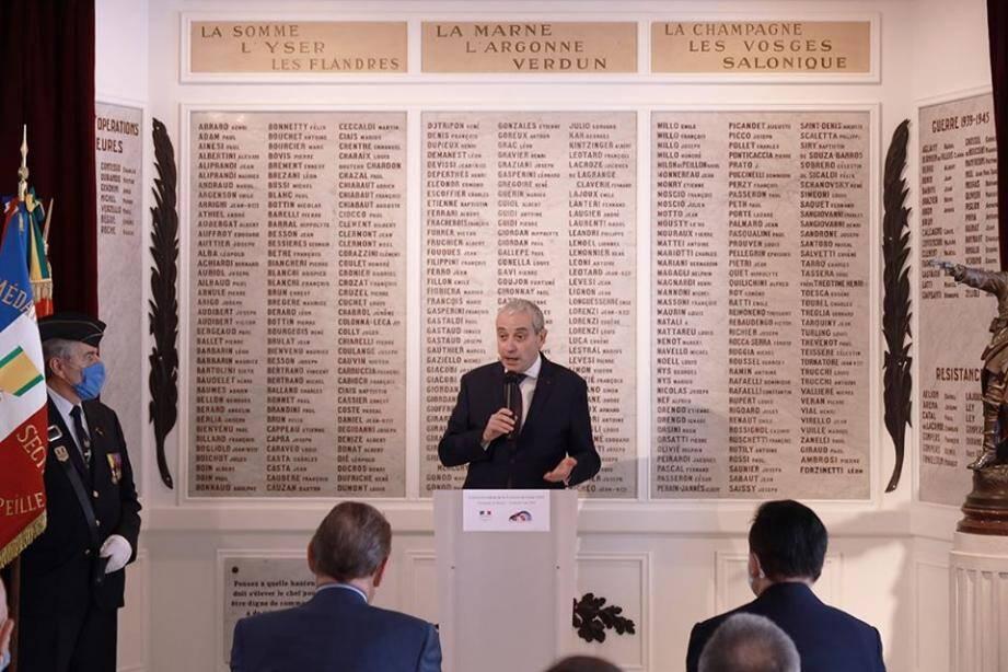 L'ambassadeur de France à Monaco, Laurent Stefanini, lors de la commémoration à la Maison de France, ce vendredi.