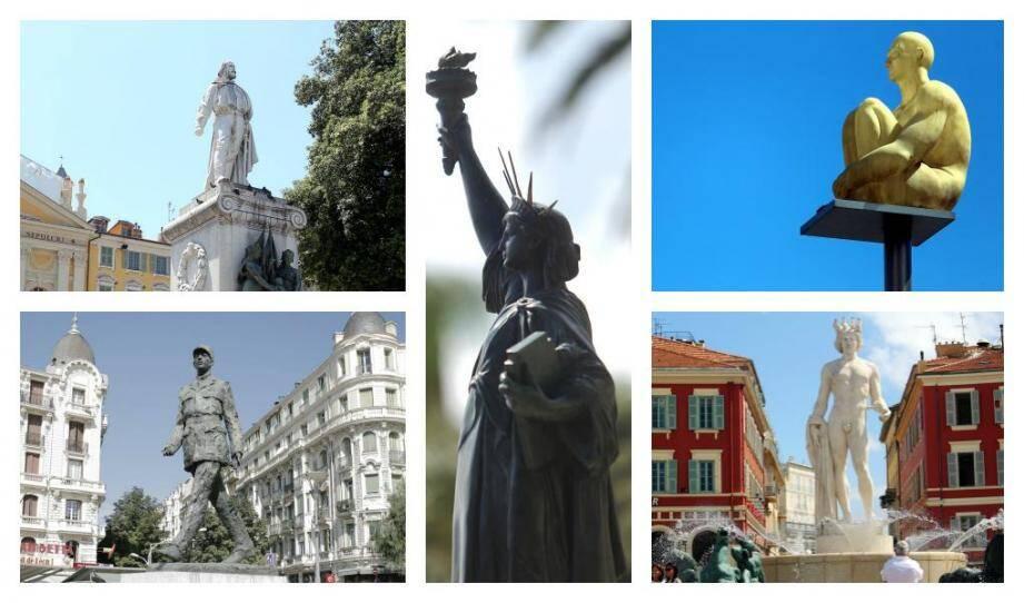 De gauche à droite: Joseph Garibaldi, la Liberté, les Sept sages, le Général de Gaulle et Apollon.