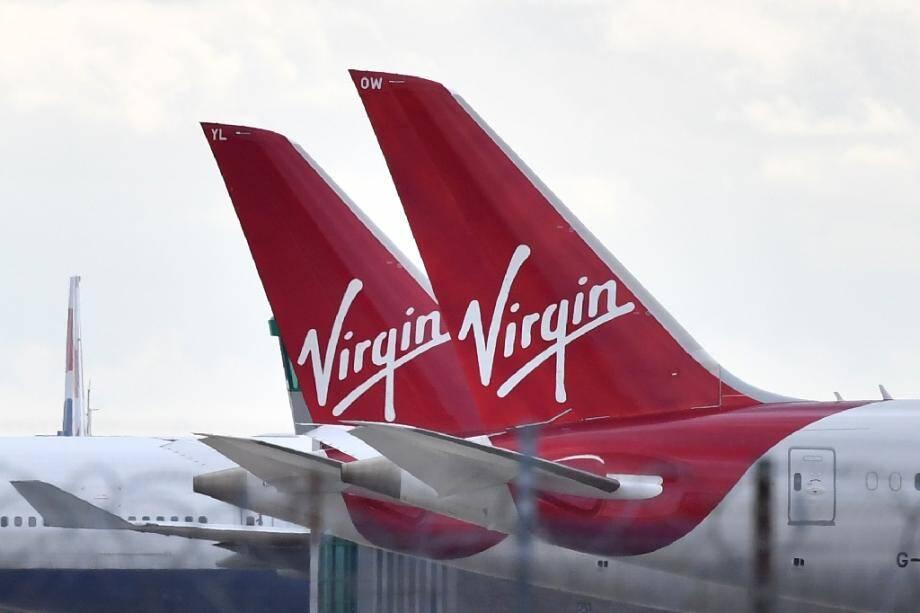 Des avions de la compagnie Virgin Atlantic stationnés le 2 avril 2020 sur le tarmac de Heathrow (ouest de Londres)
