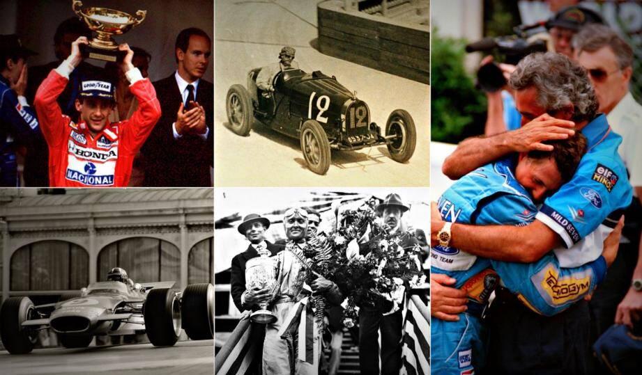 Ayrton Senna, William Grover, Michael Schumacher, Graham Hill et  Louis Chiron ont marqué le Grand Prix de Monaco