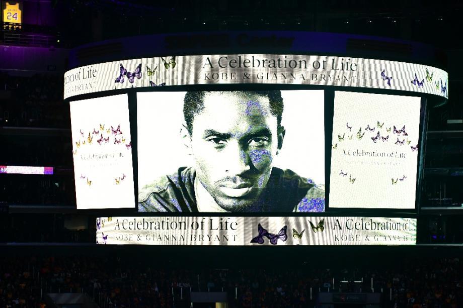 """Lors d'un hommage à Kobe Bryant et à sa fille Gianna Bryant"""", à Los Angeles le 24 février 2O2O"""
