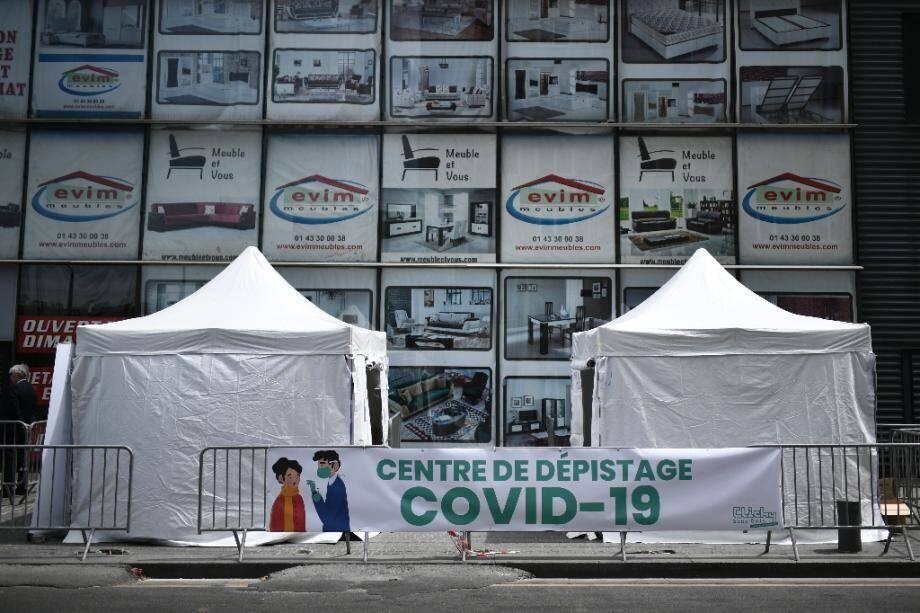 Centre mobile de dépistage du Covid-19 à Clichy-sous-Bois, le 22 mai 2020