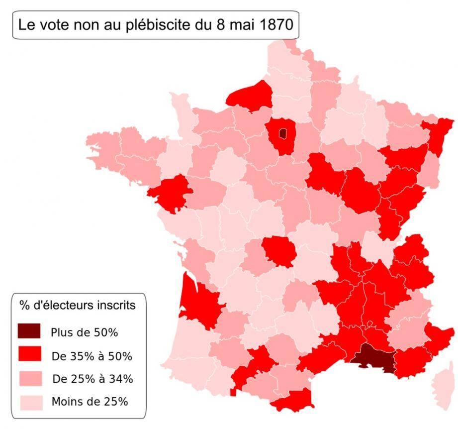 Le vote non au plébiscite du 8 mai 1870 : le Var et les Alpes maritimes sont en rouge !