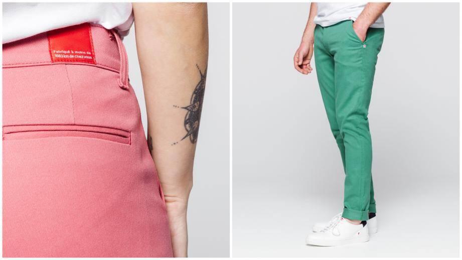 """L'image de Menton a inspiré ces chinos aux couleurs """"pêche"""" et """"tilleul""""."""