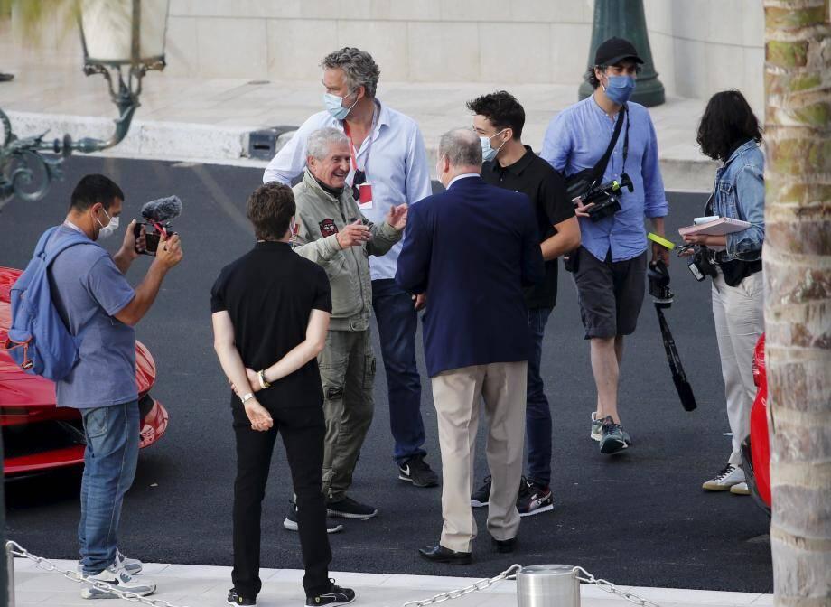 MONACO, le 24/05/2020, tournage d'un court métrage réalisé par Claude LELOUCH avec Charles LECLERC dans le rôle principal, conduisant une ferrari dans les rues de Monaco. papier Cédric VERANI ICI : Claude LELOUCH parlant au prince Albert II de Monaco et Charles Leclerc