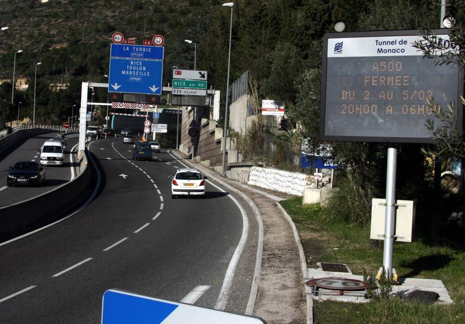 Le tunnel de l'A500 sera fermé entre 21h et 6h, du 4 au 6 mai.