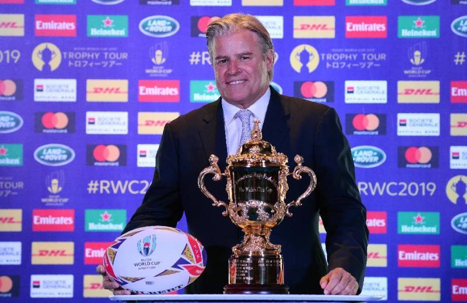 Brett Gosper le patron de World Rugby le 06 août 2018 à New Delhi en Inde.
