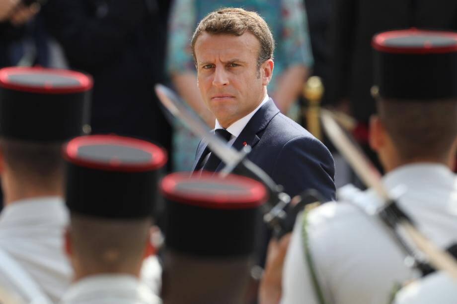 Le président Emmanuel Macron lors d'une cérémonie marquant le 79e anniversaire de l'appel du 18 juin au Mont Valérien, le 18 juin 2019